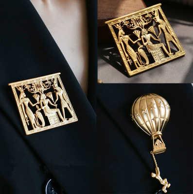 Aomu Vintage Egitto Ritratto Spille in Metallo Geometrica di Colore Dell'oro Spille per Le Donne Spilli Accessori di Modo Dei Monili Del Partito