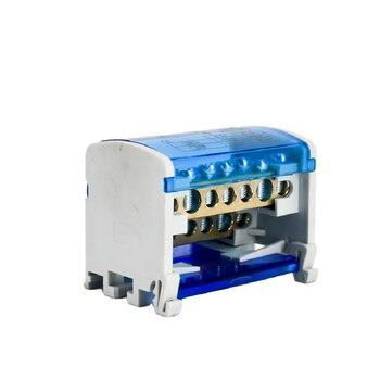 Bloque de terminales de carril Din WKH207, caja de distribución de energía, bloque de conexión de tornillo Modular, caja de empalme de cable eléctrico Universal 1