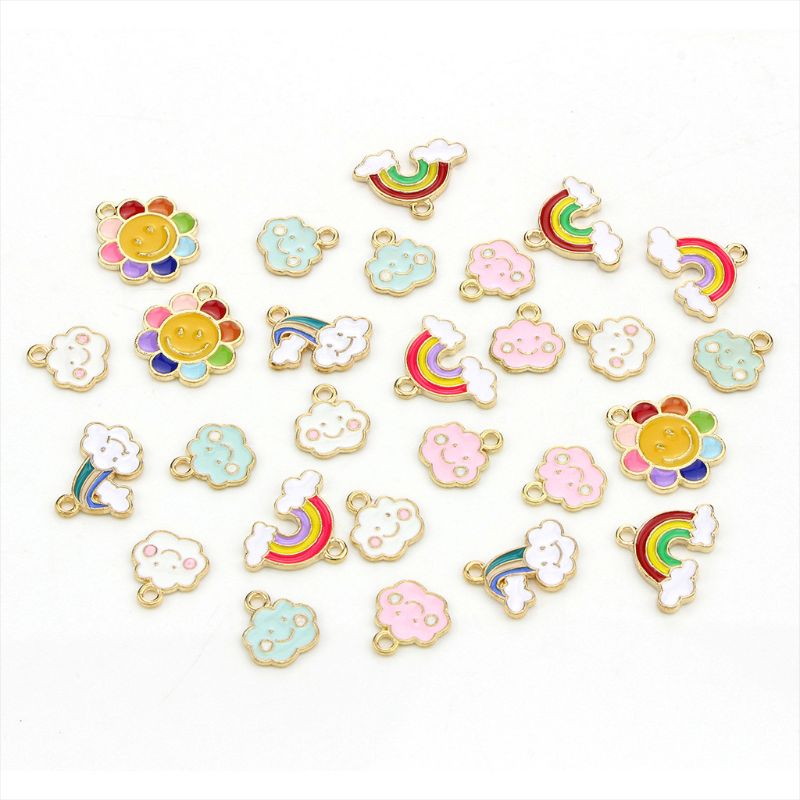 27Pcs/Set Assorted Alloy Enamel Rainbow Clouds Flower Pendant Charms For DIY Necklace Bracelet Earrings Jewelry Making Accessory