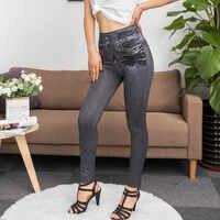 Calças de brim para as mulheres da mãe calças de brim de cintura alta mulher elástica mais tamanho estiramento calças de brim femininas lavadas denim magro calças de lápis