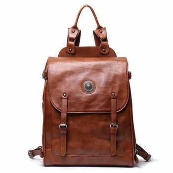 Nesitu Highend Vintage New Large Brown Coffee Genuine Leather 14\'\' 15.6\'\' Laptop Women Men Backpack Female Male Travel Bag M9036