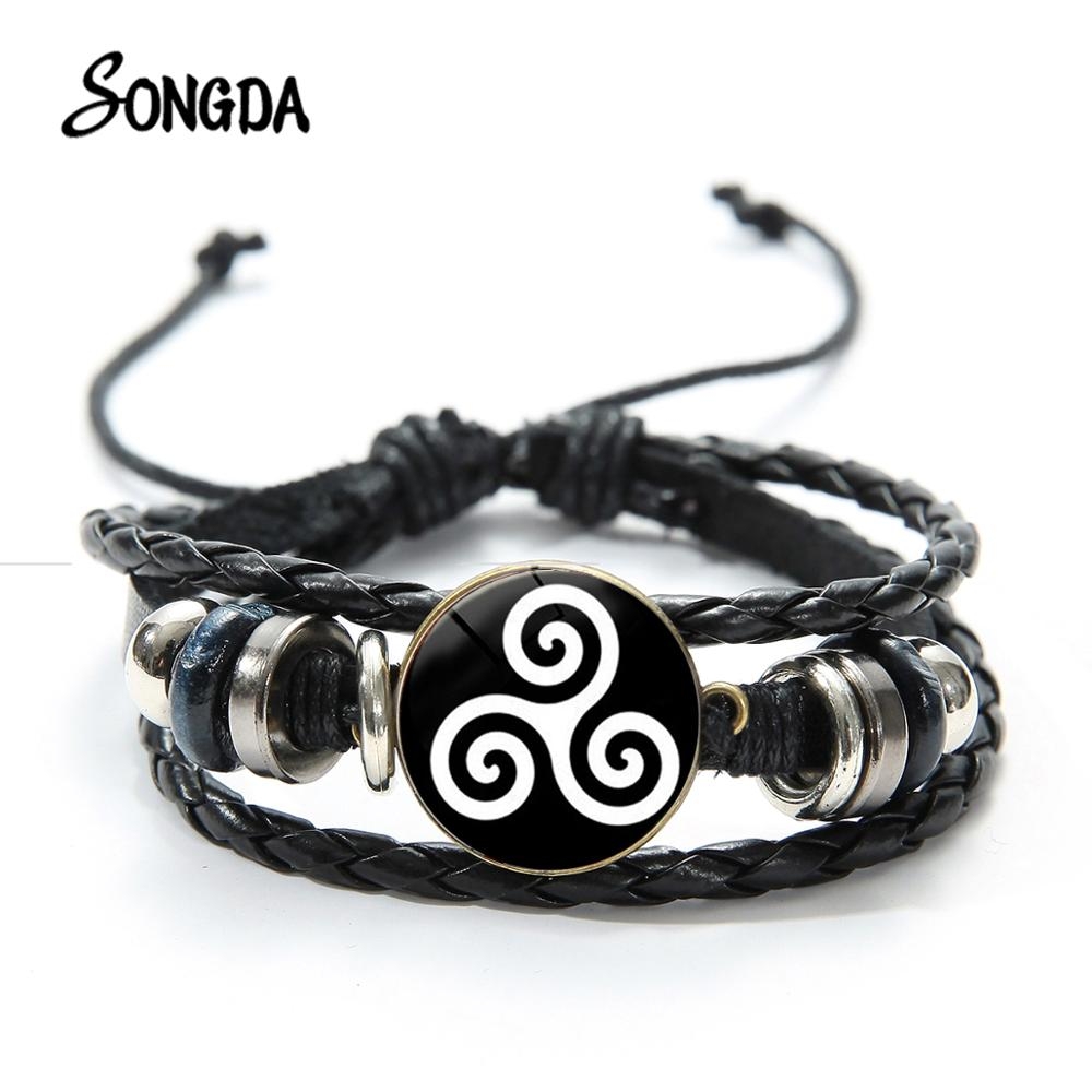 SONGDA Teen Wolf Symbol Leather <font><b>Bracelet</b></font> Triskele Triskelion Allison Argent Glass Round High Quality Black <font><b>Adjustable</b></font> <font><b>Bracelets</b></font> image