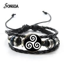 Bracelet en cuir avec symbole de loup pour adolescent, breloques ajustables noires rondes en verre et Argent de haute qualité