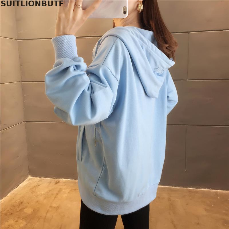 M-2xl Cotton Letter Embroidery Long Sleeve Hoodies Sweatshirts 2019 Autumn Loose Preppy Style Casual Sweatshirt SUITLIONBUTF 54