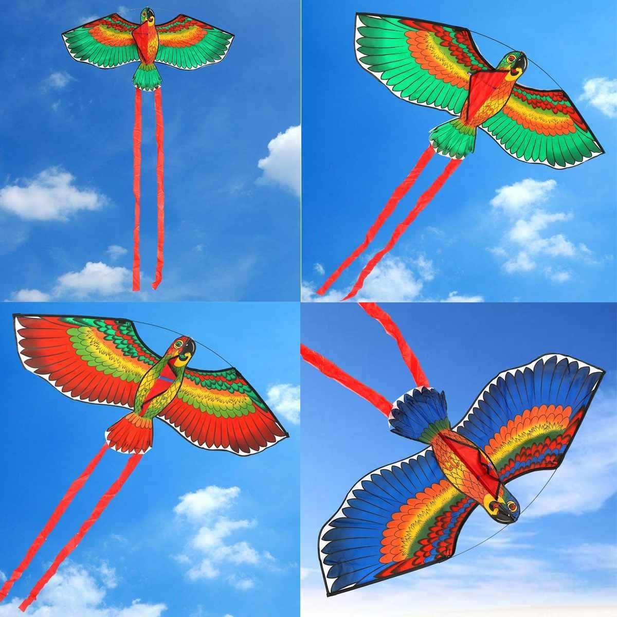 Nueva muñeca deportiva divertida al aire libre 100x50cm cometa de loros + cuerda de cometa con mango de plástico volando? Cometa como regalos para niños