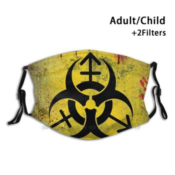 Biohazard Danger • Gender Ideology Poster Reusable Mouth Face Mask With Filters Kids Portugal Biohazard Yellow Horror image