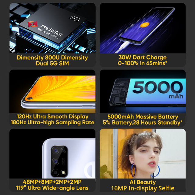 [World Premiere In Stock]realme 7 5G Dimensity 800U 6GB 128GB 120Hz Display 48MP Camera 5000mAh Global Version 30W Dart Charger 2