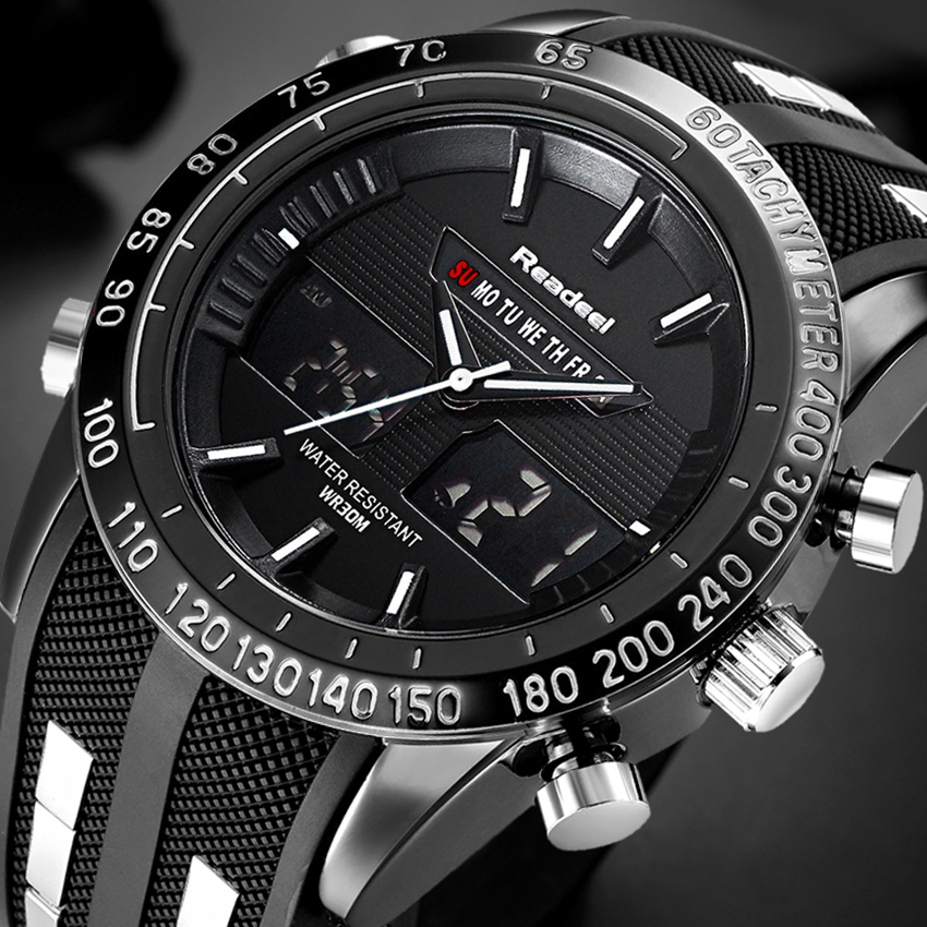 Top Luxury Brand Watches Men LED Digital Military Waterproof Watches Fashion Silicone LED Digital Watch Men Relogio Masculino