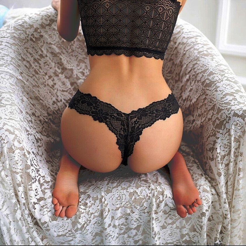 Women's Sexy Panties Thongs Lace Floral G-string V-string Breathable Sheer Briefs Panties Knickers Lingerie Underwear Vs Pink