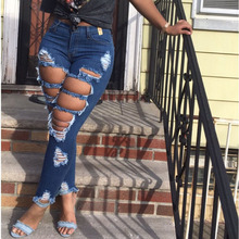 Women High Waist Casual Jeans Washed Distressed Hole Jeans High Street Ripped Stretch Skinny Sexy Denim Pants Lady Pencil Pants