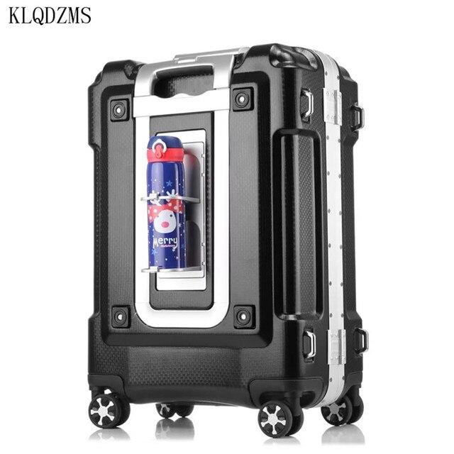 "KLQDZMS KLQDZMS 20""24""29inch aluminum frame rolling luggage spinner on wheel men women carry on travel suitcase trolley bag 1"