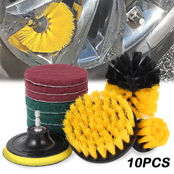 10pcs/set Electric Drill Brush Scrub Pads Kit Power Scrubber Cleaning Kit Cleaning Brush Scouring Pad for Carpet Glass Car Clean недорого