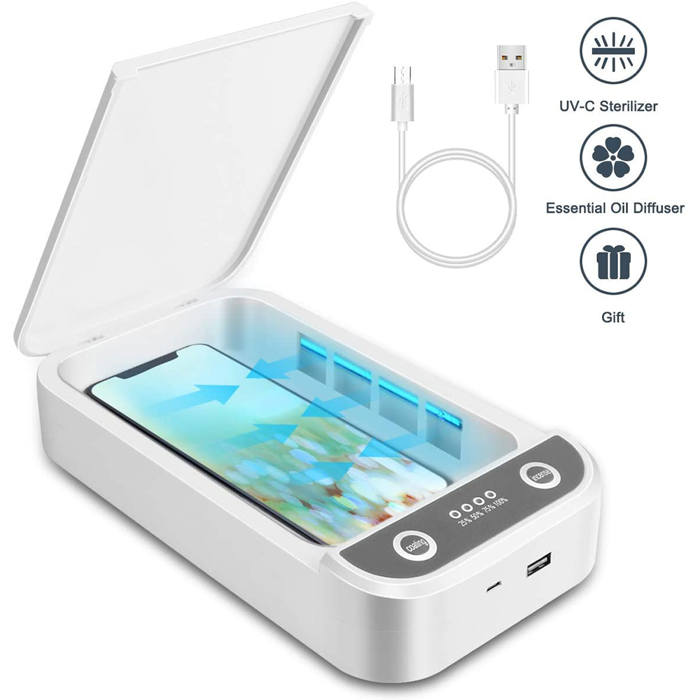 UV Light Phone Sterilizer Cleaning Box Jewelry Watch Cleaner Personal Sanitizer Disinfection Aromatherapy Function Disinfector
