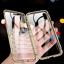 Magnetic Metal Case For iPhone 11 Pro XS Max X XR Cover Case For iPhone 8 Plus 7 6 6s XS Front Back Double Sided Tempered Glass metal magnetic case for iphone 11 pro xr xs max x 8 plus 7 tempered glass back cover for fundas iphone 7 8 6 6s plus case bumper