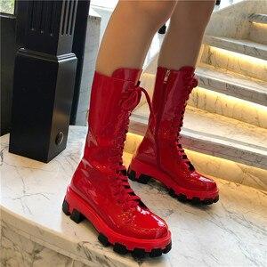Image 5 - Женские ботинки до середины икры FEDONAS, черные однотонные мотоботы из натуральной кожи, обувь на платформе для вечеринки на осень 2020