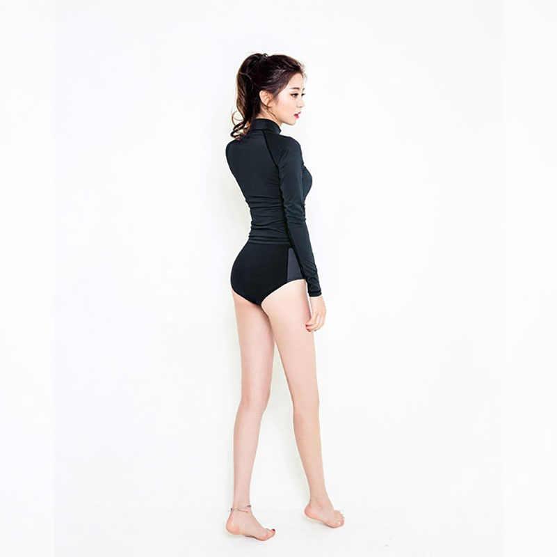 Maillot de bain coréen noir à manches longues pour le surf maillot de bain Bikini à manches longues UV UPF 50 T-shirt maillot de bain 2019