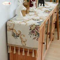 Proud Rose European Chenille Table Runner Tablecloth TV Cabinet Cover Table Mat Shoes Cabinet Cover Towel Cloth with Tassel