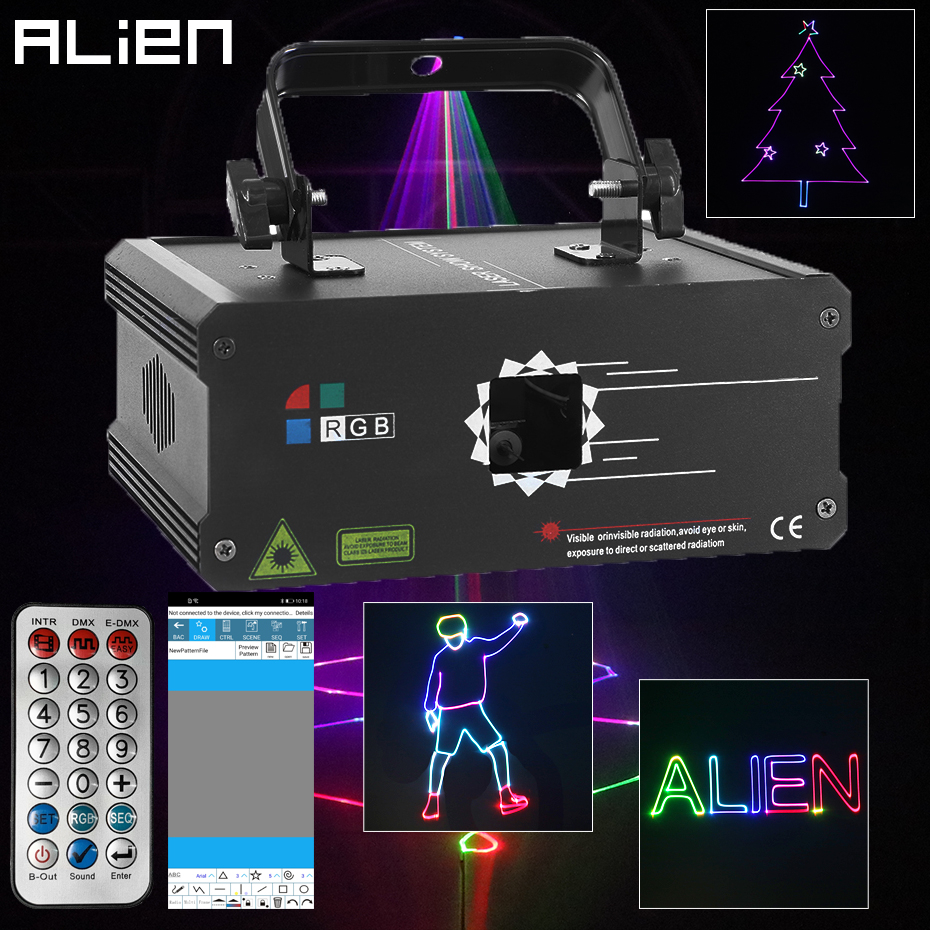 ALIEN RGB Bluetooth APP uzaktan animasyon lazeri projektör DMX512 tarayıcı DJ disko parti tatil 500MW 1W 2W sahne aydınlatma etkisi