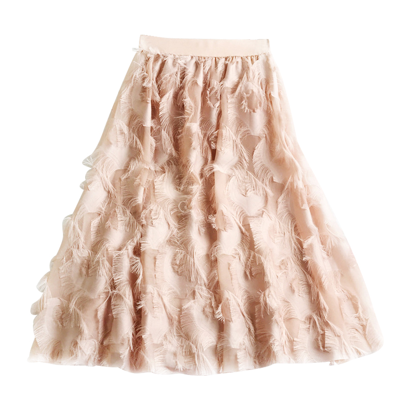 Women Skirt High Waist Fake Elegant Chiffon Feather Pattern Tulle Skirts Elastic Tassel Pleated Midi Skirts