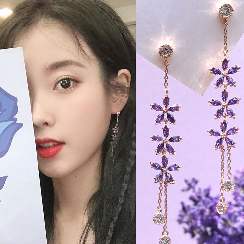 MENGJIQIAO New Korean TV Star Purple Flower Crystal Tassel Long Drop Earrings For Women Elegant Party Pendientes Jewelry Gifts