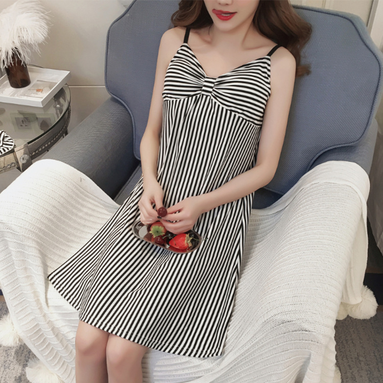 Summer New Style With Chest Pad Stripes Nightgown Women's Korean-style Thin Casual Camisole Medium-length Dress Large Size Loose