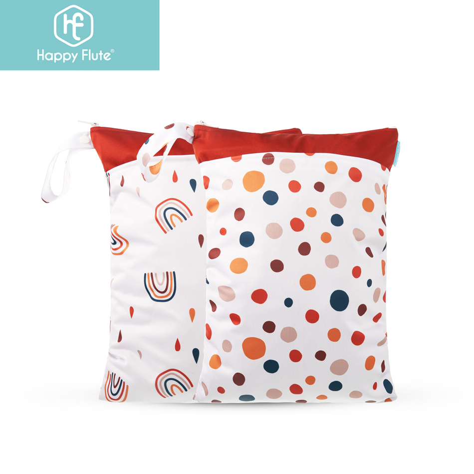 Happyflute 2Pieces/Set Waterproof Washable Baby Cloth Diaper Nappy Bag Dry And Wet Separation Wetbag  For Travel Beach And Pool