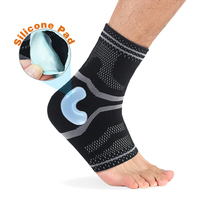 1pc Ankle Support 3D Weaving Elastic Silicone Anti Slip Breathable Compression StrapTendon Brace Heel Protection