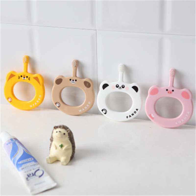Baby Training Toothbrush Toddler Baby Cute Cartoon Ring Handle Soft-bristled Toothbrush Kid Teether Training Mouth Cleaning Care