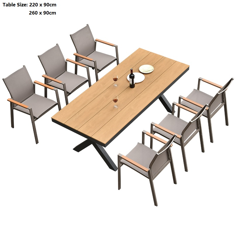 Malay All Weather Outdoor Dinning Table And Chairs Alfreco / Patio Garden Aluminum Metal Tables / Compound Wood Tabletop