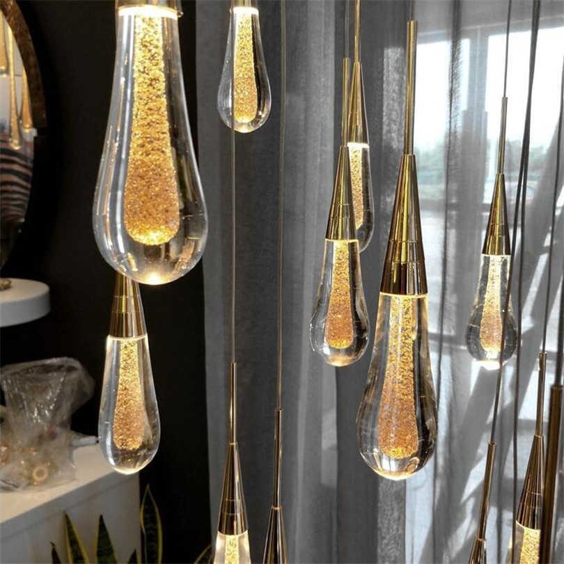 Air-Drop Kaca Liontin Lampu Kamar Tidur Samping Tempat Tidur Lampu LED Modern Desainer Kristal Lampu Ruang Makan Dapur Lampu Gantung