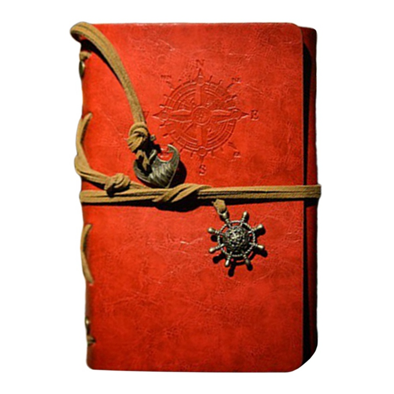 Spiral Notebook Diary Notepad Vintage Anchors PU Leather Note Book Traveler Journal Stationery Gift