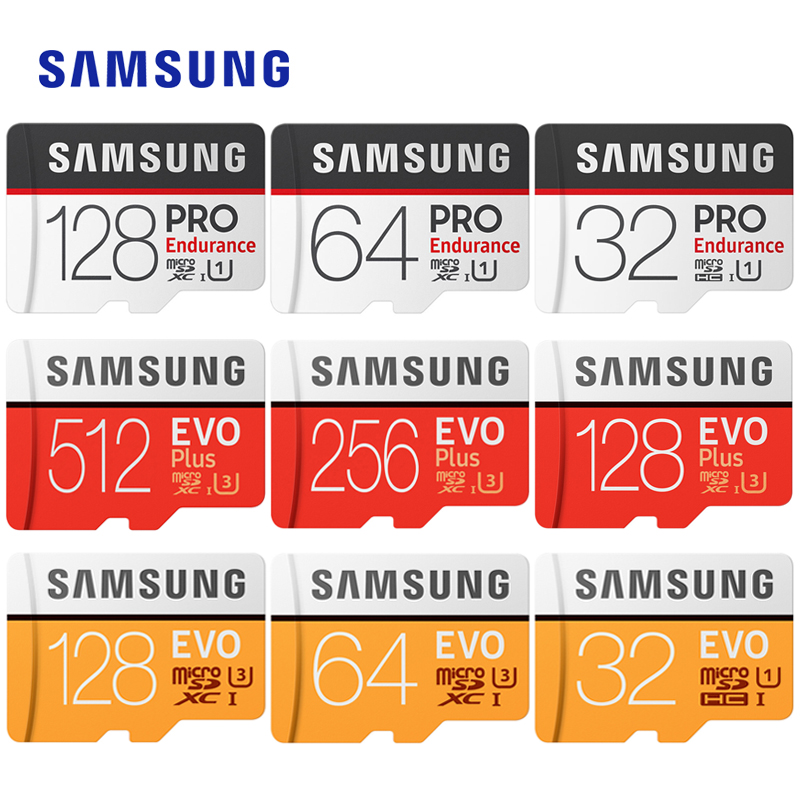 SAMSUNG EVO Plus/PRO Enduran Microsd Card 512Gb 256G 128G 64G 32Gb EVO U3/U1 Class10 U1 MicroSDXC/SDHC EVO+ 16G 32Gb Memory Card