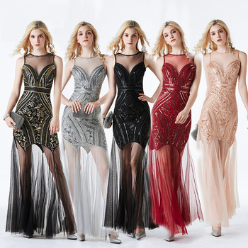 Women Black Sequin Formal Mermaid Evening Dresses Long Elegant Gala Gowns Sexy Tulle Prom Party Dress Quinceanera Robe De Soiree