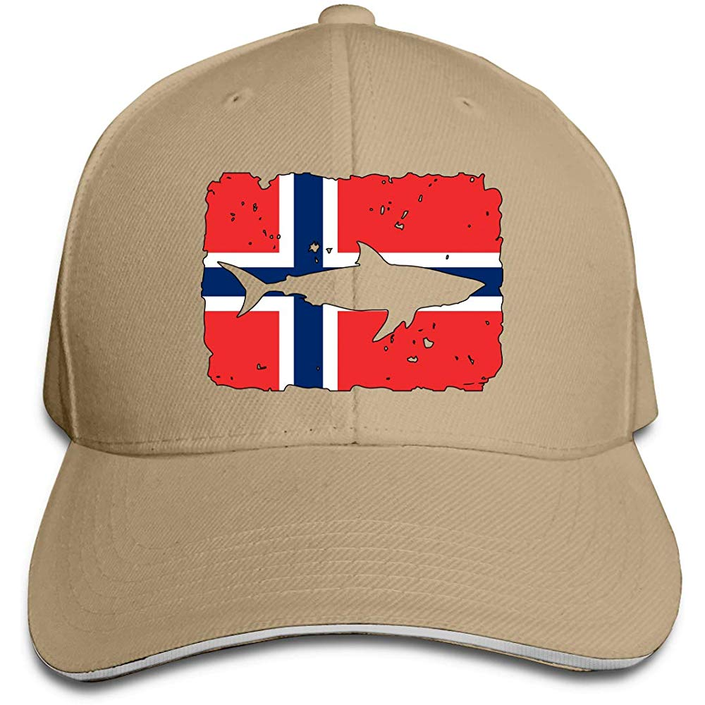 Men Womens Vintage Shark Norway Flag Baseball Hat Baseball Cap