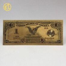 1 шт., имитация под старину 1899 год черный орел 1 долл. США, цена в долларах, Цветной с покрытыем цвета чистого 24 каратного золота БАНКНОТ для па...