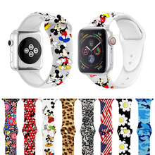 Printed Strap for apple watch 5 4 band 44mm 40mm iwatch 5 4 3 2 1 band 42mm 38mm Sport silicone bracelet wrist belt Accessories sport strap for apple watch 4 band 44mm 40mm iwatch band 4 3 2 1 42mm 38mm survival rope metal bolt clasp wrist bracelet belt