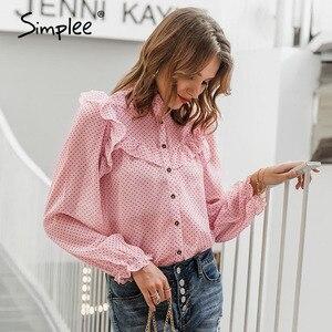 Image 3 - Simplee בציר פרע נשים חולצה חולצה אלגנטית דוט הדפסת כפתורי נקבה חולצות חולצות סתיו אביב משרד גבירותיי עבודה חולצות