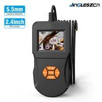 5,5 мм промышленный эндоскоп Инспекционная камера 2,4 дюймов ips HD экран IP67Handheld камера эндоскопа с 6 светодиодный бороскоп