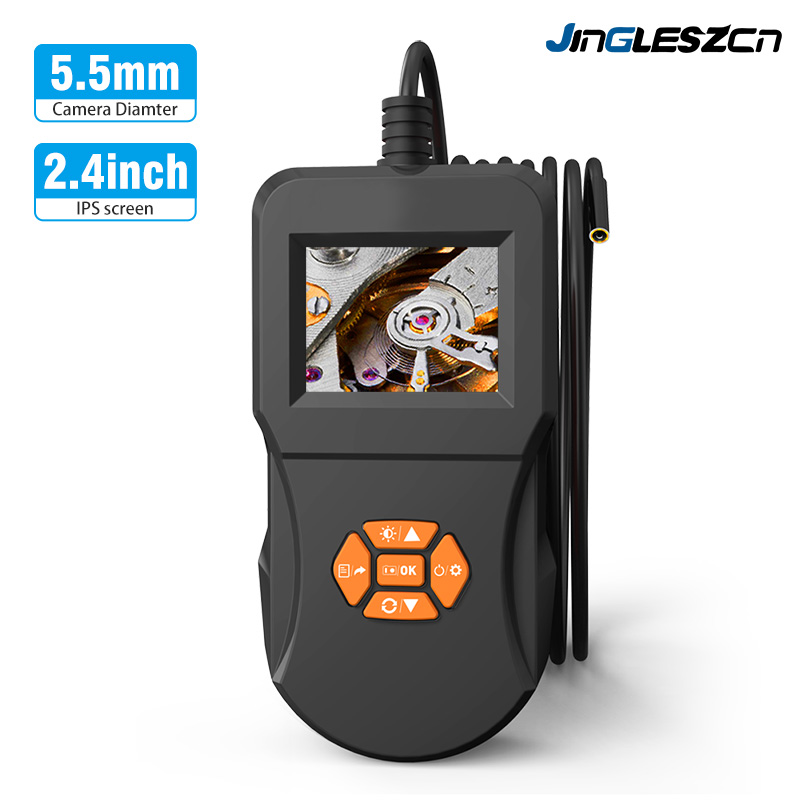 5.5mm Industrial Endoscope Inspection Camera 2.4inch IPS HD Screen IP67Handheld Inspection Endoscope Camera With 6 LED Borescope