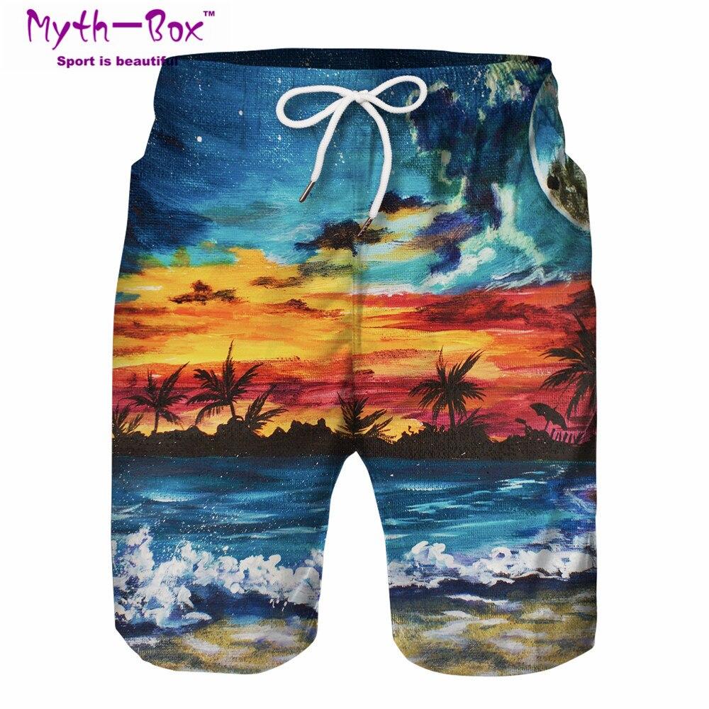 Men's Print Swimming Board Swim Shorts Trunks Beach Summer Swimwear Sport Pants