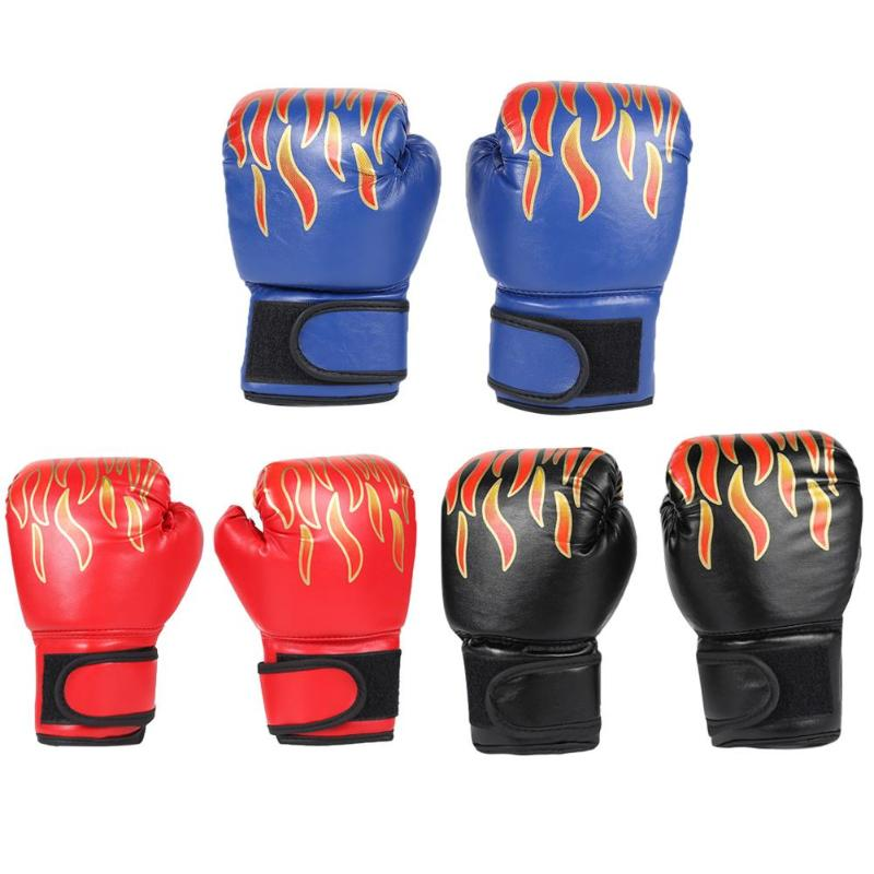 2pcs Boxing Training <font><b>Fighting</b></font> Gloves Kids Breathable Muay Thai Sparring Punching Karate Kickboxing Professional Flame Gloves image