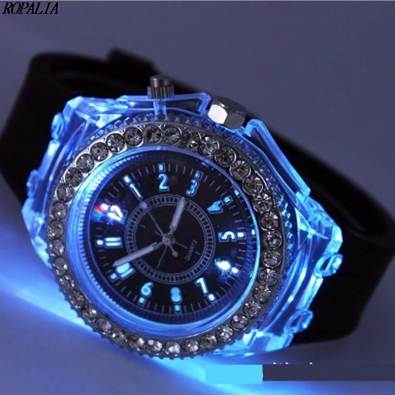 New Women Illuminate Watch Geneva LED Backlight Crystal Quartz Sport Waterproof Wristwatches