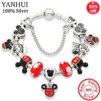 YANHUI Original 925 Silber Mickey Minnie Charms Armband Mit Roten Kristall Perlen Sicherheit Kette Armband Für Frauen Jahrestag Geschenk
