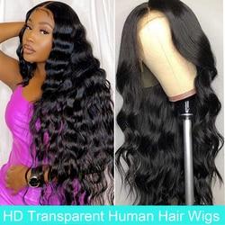 HD Transparent dentelle avant perruques de cheveux humains pour les femmes noires brésilien vague de corps dentelle avant fermeture perruque cheveux humains naturel délié