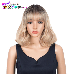 Trueme Heat Resistant Cosplay Wig With Bangs Ombre Pink Blonde High Temperature Hair Wavy Bob Synthetic I Part Lace Wigs 14 Inch
