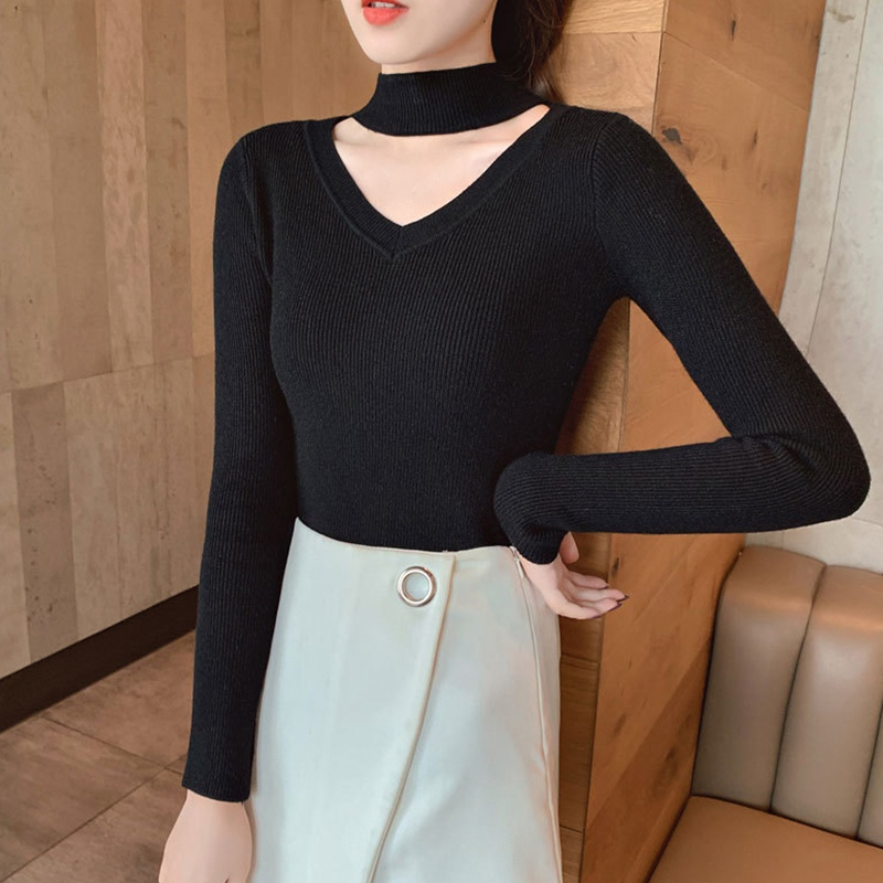 Women Sweater Casual Solid Color Half Turtleneck Female Pullover Long Sleeve Slim Warm Spring Autumn Knitted Bottoming Shirt