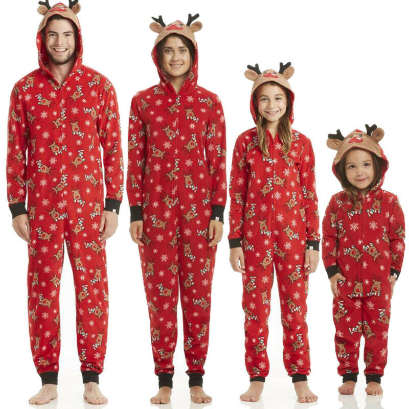 Xmas Family Matching Pajamas Kids Adult Rompers  3D Ears Hooded Reindeer Jumpsuit Casual One-Piece Outfit Christmas Nightwear