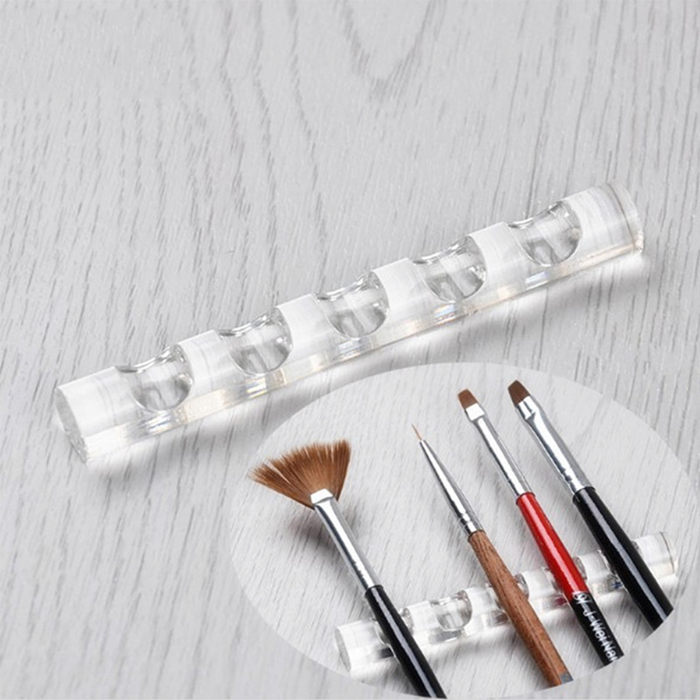 Acrylic Display Rack For Brush Transparent Paint Pen Storage Stand Makeup Pencil Holder Racks Of 5 Nail Brushes