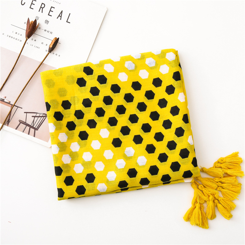 2020 шарф женский Original Yellow Dot Scarf For Women Floral Hijab Viscose Warm Print Scarf Luxury Brand Blanket Wraps Female