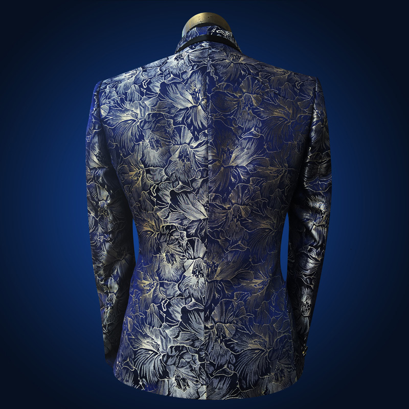 Image 5 - PYJTRL Men Shawl Lapel 3 Piece Set Suit Blue Floral Pattern  Jacquard Wedding Groom Singers Prom Costume Latest Coat Pant  DesignsSuits